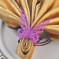 Vente en gros - 2015 New Chic 60pcs Papier pourpre Papillon Serviette Anneaux Wedding Decoration Holder Bridal Shower Favor