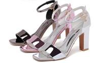 balo topuklu ayakkabıları toptan satış-Yaz Yüksek Topuk Düğün Sandalet Balo Parti Bayan Ayakkabı Tıknaz Topuklar Bayanlar Ayakkabı Kalın Topuk 8 cm Toka Kayış Hızlı Kargo