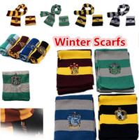 Wholesale Wholesale Cotton Scarfs - New Harry Potter Scarf Gryffindor School Unisex Knitted Striped Scarfs Gryffindor Scarves Harry Potter Hufflepuff Scarfs Cosplay 4152