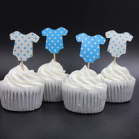 Wholesale Cupcake Clothing Wholesale - Wholesale-Blue Pink Baby Clothes Party cupcake toppers picks decoration for kids birthday party favors Decoration supplies