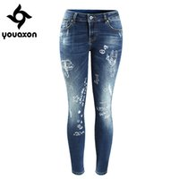 Wholesale Cute Ripped Jeans - Wholesale- 2089 Youaxon Women`s Cute Cartoon Printed Brand New Low Waist Stretch Skinny Pencil Pants Jeans For Women Denim Cropped Capris