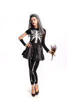 Wholesale Zombie Bride Costumes - Halloween cosplay wholesale and retail the new skeleton ghost black zombie bride dress evening DS stage costumes day of the dead cosplay