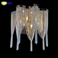 Wholesale Empire Lamps - FUMAT K9 Crystal Chandelier Empire Silver Chain Suspension Lustres Lamp Living Room Bed Room Crystal Light Hanging Lighting