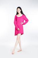 Wholesale Ladies Cotton Pajamas Xl - 100% Lenzing Modal Rose Red Women Pajama Skirt Lady Pajamas Nightgowns Robe Women's Nightgown Cotton Nightwear Long Sleeve Sleepwear
