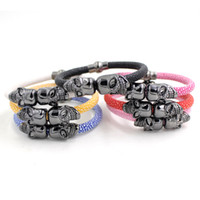Wholesale Skeleton For Bracelets - New Arrival Wholesale 6 Colors Stingray Leather Bracelet Black Twin Skeleton Skull Bracelet Wrist Bracelet for men Bijoux Pulsera