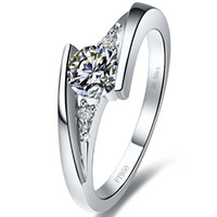 Wholesale White Gold Diamond Infinity Ring - 1 ct Star twinkle synthetic diamond rings sterling silver rings plated 18K white gold semi mount ring settings infinity ring