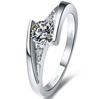 elmas sonsuzluğu toptan satış-1 ct Yıldız pırıltı sentetik elmas yüzük gümüş yüzük kaplama 18 K beyaz altın yarı dağı halka ayarları infinity yüzük