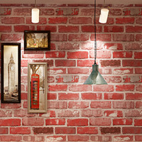 Wholesale Indoor Wallpaper - 3D Brick Pattern PVC Waterproof Thickened Vinyl Wallpaper For Cafe Bar Restaurant Indoor Wall Decor Red Brick Wall Paper Rolls