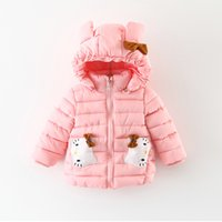 Wholesale Girls Cartoon Kt Clothing - 2017 kids clothes Winter children's clothing wholesale Korean version of the simple color cartoon KT cat hand cotton cotton clothing