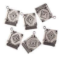 Wholesale Antique Witchcraft - Wholesale-5Pcs Book Spell Witchcraft Antique Tibetan Silver Bead Charms DIY Fashion Pendants Fit Bracelet Jewelry Findings 23*18mm