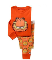 Wholesale garfield cartoon - Free shipping Cotton cartoon Kids Garfield Pajama Sets Clothes boys Long sleeves sleepwear pyjamas N2