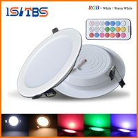 Minuteries D'éclairage À Intensité Réglable Pas Cher-Professional Dimmable LED Panel Light 10W RGB + blanc / chaud blanc AC 85-265V Downlight plafonnier + minuterie télécommande + conducteur led