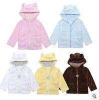 Wholesale Kids Bear Hoodie - Kids Hoodies Bear Hooded Coral Fleece Jackets Baby Cartoon Winter Sweatshirts New Baby Outerwear Coat Overcoats Windproof Jackets Tops J423