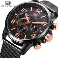 Wholesale Mini Clock Battery - MINI FOCUS Brand Luxury Fashion Gold Stainless steel Watch Bracelet Waterproof Quartz Watch Men Clock Gift Casual Sport Watches