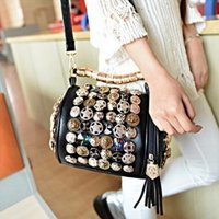 Wholesale Women Open String - Wholesale-Rhinestone Skull buttons pillow bucket PU Handbag women Shoulder Bag chain clutch handbag bags handbags evening purse