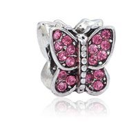 Wholesale Crystal Butterfly Necklace Black - Fits Pandora Bracelets 10pcs Cherry Red Crystal Butterfly Silver Charm Beads Charms For Wholesale Diy European Necklace Snake Chain Bracelet