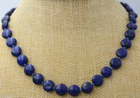 Wholesale Lapis Pearl Jewelry - Charming 10 mm coin Natural lapis lazuli gemstone jewelry necklace