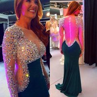 Wholesale Emerald Green Mermaid Prom Dresses - Mermaid Emerald Green Prom Dresses 2017 Sexy Crystal Beaded Long Sleeve Sheer Special Occasion Gowns Illusion Vestido De Festa
