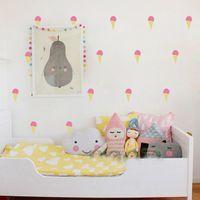 Wholesale Ice Creams Wall Stickers - Cartoon Little Ice Cream Wall Stickers Removable Wall Decals Pink Girl Child Room Decoration Art Wall Decor