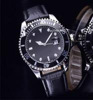 Wholesale Metal Case Watches - Fashion crazy sale black case alloy metal watch luxury famous Brand quartz faux leather replicas chrono date cheap automatic mens clocks