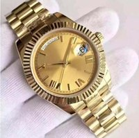 Wholesale Power Tags - Top High Quality 18 ct gold DAYDATE self-winding mechanical 2813 movement bezel dial Yellow dial bezel Sapphire Original clasp Mens wat