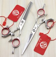 Wholesale Scissors Swivel - 5.5 6.0 Inch Hairdressing Scissors 360° Swivel thumb Stainless Steel Professional Barber Shop Cutting Scissors Thinning Scissors with Bag