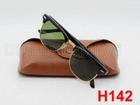 Wholesale Hard Lens Cases - Excellent Quality Fashion Designer Sunglasses Semi Rimless Sun Glasses For Men Women Gold Frame Green 51mm Glass Lenses With Hard Brown Case