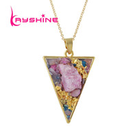 Wholesale Triangle Shaped Necklace - Randomly Minimalist Necklace Gold-Color Chain Geometric Triangle Shape Color Stone Pendant Necklaces For Women