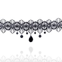 Wholesale Gemstone Pearl Necklace - Gothic Style Black Choker Fashion Hollow Out Lace Necklace Black Gemstone Pendant Short Neck Jewelry For Women Party