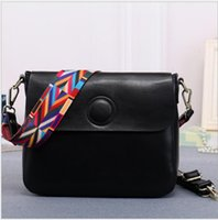 Wholesale Leather Bucket Bag Korean - AIKEWEILI Spring and summer Cowhide leather Handbags trendy fashion ribbon shoulder Messenger Bag Korean leather small square Bags