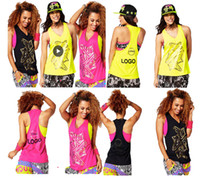 Wholesale Yoga Tops Medium - woman yoga tops vest dance tops Kickin It Loose Tank racerback yellow pink black COLOR