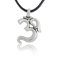 Wholesale Aum Pendant - Retro Personalized Vintage Aum Om Ohm Sanskrit Symbols Yoga Sliver Color Spiritual Pendant Leather Necklace Jewelry on Wac Cord Gifts