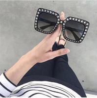 Wholesale Rectangle Diamonds - new fashion designer sunglasses 0148 square frame with diamond summer popular style uv 400 protection eyewear for women