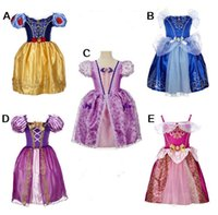 Wholesale Chinese Bows - Girl Cinderella princess dress rapunzel dress 5 Color Sleeping beauty princess party birthday lace sleeveless dress for big Girls