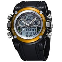 Wholesale Ohsen Lcd Dual Core - New OHSEN LCD Dual Core Mens Boys Sports Watches Alarm Date Day Stopwatch Black Rubber Band Wristwatch Swim Military Watch Gifts