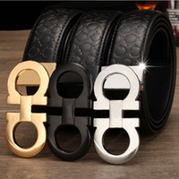 Wholesale First Class Luxury - Fashion High Quality First Class real genuine Leather belts Mens womens designer belt Big buckle luxury brand belts