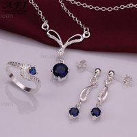 Wholesale Extravagant Earrings - 2017 New Charm Fashion Jewelry Sets 925 Sterling Silver Jewelry Necklace Set Sterling Silver Extravagant Debutante Elegant Lady