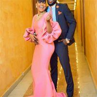 mangas rosa venda por atacado-Meninas cor de rosa vestidos formais vestidos de noite mangas puff jóias sereia vestido de baile sem colar vestido de festa cocktail mangas compridas vestidos
