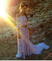 Wholesale White Crop Tie Top - Bohemian Two Pieces Wedding Dress Lace Off the Shoulder Crop Top Keyhole Tie Back Boho Beach Wedding Dresses 2017 Casamento Robe de marriage