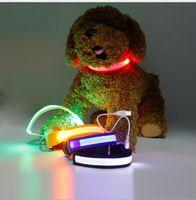 Wholesale christmas led dog collar resale online - Pet Dog Christmas Gifts LED Light Nylon Color color Night Adjustable Flashing Pet Collar for Dog Safety Cat Asian Size S M L