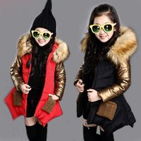 Wholesale baby winter overcoat - thick baby girl parkas coat fashion gold removable overcoat for yrs girls children kids Winter jacket outerwear clothes