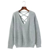 Wholesale Wool Western Style - Sexy V-Neck Backless Female Sweater 2017 Autumn and Winter Western Style Back Hollow Out Bandage Knitting Pullover Women Sweater