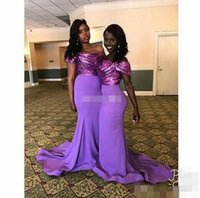 Wholesale Light Purple Wedding Gown Dress - Sexy Bridesmaid Dresses Long Off Shoulder Sparkly Sequins Light Purple Cap Sleeves 2017 Wedding Maid of Honor Dress Guest Formal Party Gowns