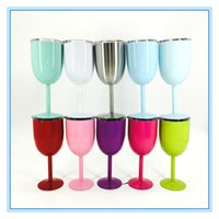 Wholesale Double Clamp - 10oz Stainless Steel Wine Glass 9 Color Double Wall Insulated Metal Goblet With Lid Rambler Colster Tumbler Red Wine cup