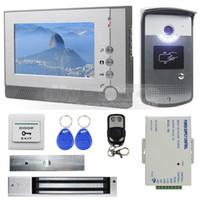 Wholesale Video Intercom Id - Magnetic Lock 7 inch TFT Color Video Door Phone Visual Intercom Doorbell ID Unlocking RFID LED Night Vision Camera