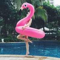 Wholesale Inflatable Toys For Women - 120CM 60 Inch Giant Inflatable Flamingo Pool Toy Float Inflatable Pink Cute Ride-On Pool Swim Ring for Water Holiday Fun Party