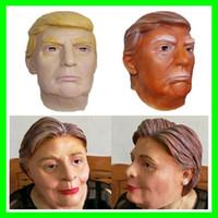 mascarillas de celebridades al por mayor-Nuevo presidente de EE. UU. Donald Trump Máscaras de látex Funny Hillary Diane Máscaras de Halloween Party Celebrity Mask Full Face para adultos