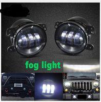 luces redondas de niebla llevadas redondas al por mayor-4 pulgadas de niebla Led luz de la motocicleta daymaker 4 pulgadas redonda Led niebla de la lámpara Drl para Harley Jeep Wrangler Jk 4x4 auxiliar