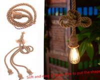 lampes de marbre vintage achat en gros de-Le diamètre de 18mm (1m de long) pendentif vintage loft corde corde lampe tissée à la main lampe décorative