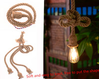 Wholesale Energy Saving Halogen Bulbs - No light bulb The diameter of 18mm (1m long) vintage pendant pendant loft hand woven rope rope lamp decorative lamp